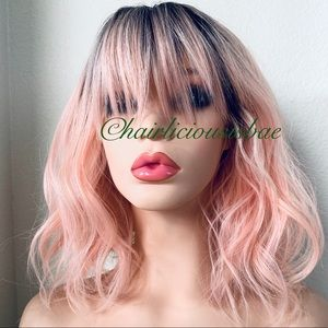 Pink wig ombré black wavy layered bangs fringe